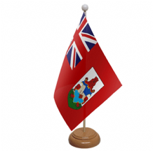 BERMUDA - TABLE FLAG WITH WOODEN BASE